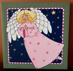 Folk art angel...acrylic on canvas