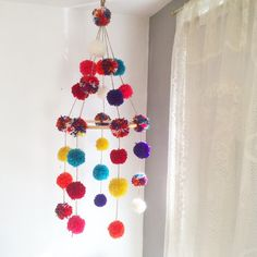 One of a kind pompom mobile, custom nursery mobile, kidsroom wall hanging, rainbow mobile, pompoms