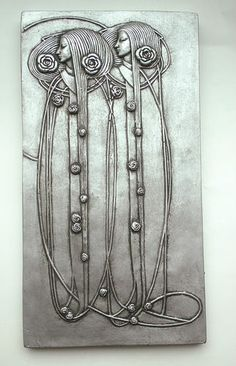 Pretty Mackintosh Art Nouveau Deco Style Wall Plaque Pewter Old Silver Effect   eBay