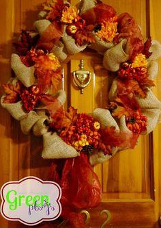 Green PBnJs: Fall Burlap Wreath