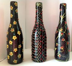 Wine pint bottles made with paint and studs