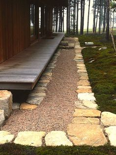 Stone, gravel and moss for the entrance to a Japanese style home in Maine. Designed by Patrick Chasse, LA