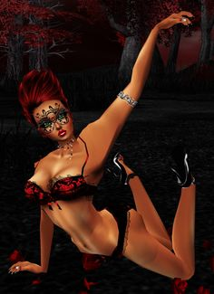 A red witch posing under the red moon!