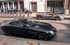 Combo by Grzegorz Kurzweg  Via Flickr:  Mercedes McLaren SLR and Ferrari 458…