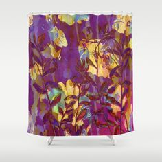 yellow flowers on purple Shower Curtain by clemm - $68.00