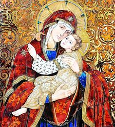Roman Church, Christian Artwork, Queen Of Heaven, Blessed Mother Mary, Byzantine Icons, Holy Mary, Religious Icons, Orthodox Icons, Deities