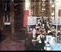 Here's some photos of the bathroom where Elvis died (He died on the floor to the left).  You can see the bathroom counter still messy and intact as it was left.