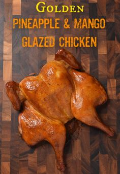 Golden pineapple and mango glazed chicken - beautiful color and it tastes as good as it looks! Pineapple Barbecue Sauce Recipe, Pineapple Beer, Pineapple Glaze, Barbecue Sauce Recipes, Grilling Recipes, Smoker Recipes, Mango Glaze Recipe, Outdoor Cooking Recipes, Lime Drinks