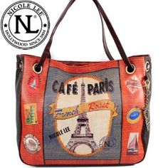 Amazon.com: Nicole Lee Gitana Vintage Print Handbag Hollywood Celebrity Cafe Paris Illustrative Print Shopper Shoulder Handbag Purse (Large Size) in Coffee Brown: Clothing