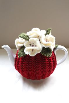 Hand-knitted Floral Tea Cosy in pure wool - Red - Size MEDIUM - fits cup teapots - Ready to Ship Crochet Cozy, Crochet Motifs, Crochet Crafts, Yarn Crafts, Crochet Projects, Hand Crochet, Crochet Granny, Knitting Patterns, Crochet Patterns