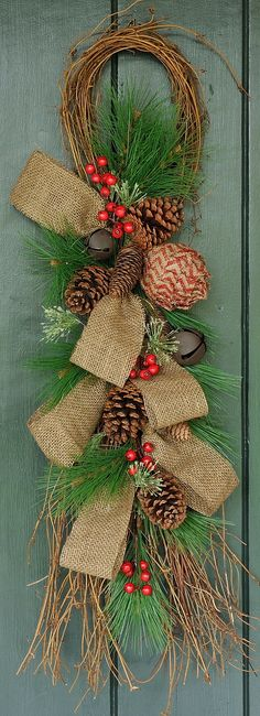 Let it Snow Pine Cone and Berry Swag Winter by WillowgaleDesigns