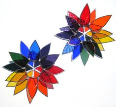 Rainbow Flower Stained Glass Candle Holders