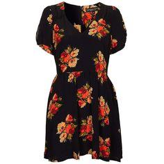Topshop 'Autumn Floral' Tea Dress (Petite) (3.050 RUB) ❤ liked on Polyvore featuring dresses, vestidos, topshop, short dresses, floral tea dress, petite floral dress, floral dress, flower print dress and garden party dress
