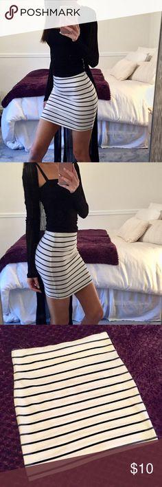 Forever21 Navy & White Striped Mini Skirt S Dark navy/ black and white striped mini skirt Size: Small  Used but in good condition Forever 21 Skirts Mini