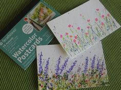 Splattered Paint Flower Art Postcards-myflowerjournal.com; these are postcards, but would make lovely envelopes