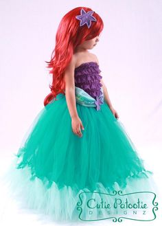Tutu Skirt - Teal - Mermaid Halloween or Birthday Costume -Tidal Wave Teaser- 3-4 Toddler Girl - Cutie Patootie Designz via Etsy