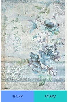 Diy Crafts - Rice Paper - Blue Land Flower - for Decoupage Scrapbook Craft Paper Napkins For Decoupage, Tissue Paper Crafts, Decoupage Vintage, Vintage Paper, Decoupage Printables, Printable Scrapbook Paper, Printable Paper, Free Printable, Rice Paper