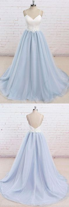 Spaghetti Straps Sweep Train Backless Light Blue Tulle Prom Dress by MeetBeauty, $129.19 USD