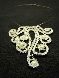 Bobbin Lace Necklace from Slovenia by MyBobbinLaces on Etsy