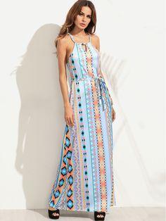 Shop Halter Geometric Print Cut Out Self Tie Dress online. SheIn offers Halter Geometric Print Cut Out Self Tie Dress & more to fit your fashionable needs.