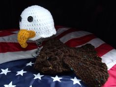 crochet photo prop 'Baby Bald Eagle' hat and by momscrochetcorner, $22.00