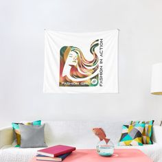 'Fashion Girl By Damonti Designs' Tapestry by Christiaan Van Den Berg Textile Prints, Textiles, Thing 1, All Print, Wall Tapestry, Vivid Colors, Cool Designs, Girl Fashion, My Arts