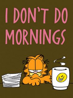 Funny Cats   Garfield apparently doesn't do mornings!