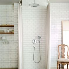 Corner Shower For Small Bathroom You'll Love in 2020 - Visual Hunt Small Bathroom With Shower, White Bathroom Decor, Small Showers, Laundry In Bathroom, Bathroom Renos, Small Bathrooms, Bathroom Niche, Tile Showers, Bathroom Shelves