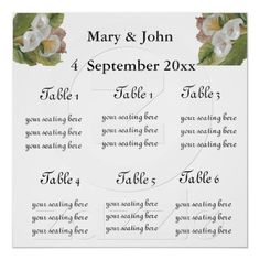 "Floral Wedding ""Callas"" seating chart Poster"