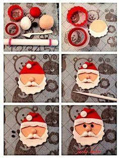 New cupcakes christmas fondant papa noel Ideas Christmas Cupcake Toppers, Christmas Cake Decorations, Christmas Sweets, Christmas Cooking, Christmas Goodies, Christmas 2019, Vegan Christmas, Santa Christmas, Christmas Christmas