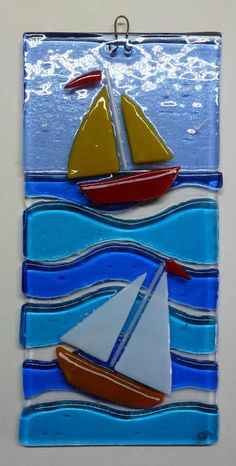 ORIGINAL FUSED GLASS ART PICTURE, BEACH HUTS AND SAILING BOAT £12.95