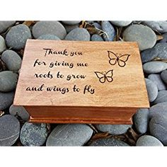 Custom made music box with quote: Thank you for giving me roots to grow and wings to fly with butterflies and your choice of color and song