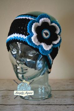 READY TO SHIP - Adult Carolina Panthers Inspired Flower Earwarmer Headband with Bottlecap Logo Center - Football by SimplySquid on Etsy Sport Themed Crafts, Ear Warmer Headband, Football Stuff, First Class Shipping, To Color, Carolina Panthers, Custom Items, Head Wraps, Warm And Cozy