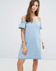 Boohoo | Boohoo Off The Shoulder Denim Dress at ASOS