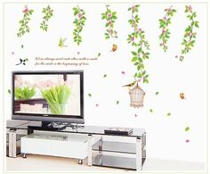 YYone Branches of Flowers Leaves Birds and Butterflies Wall Decal Living Room Wall Decor Sticker