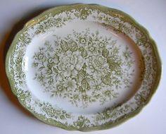 Vintage Sage / Olive Green Transferware Platter Roses Daisies