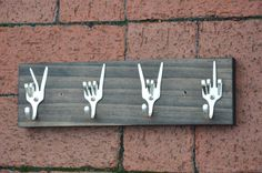 Peace x Love x Rock On x Fork U Keys Rack by jjevensen on Etsy, $50.00.  I have one person in mind that would LOVE it!!!