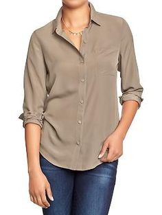 Womens Crepe-Chiffon Blouses-- Ways to wear a necklace I already own