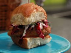 Beer Battered Codwich Sliders recipe from Jeff Mauro via Food Network Fish Dishes, Seafood Dishes, Seafood Recipes, Main Dishes, Cod Recipes, Fish Recipes, Jeff Mauro, Beer Battered Cod, Recipes