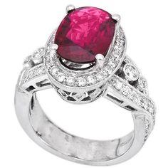 18K White Gold 3.20Ct Diamond & Rubilite Ladies Ring $3,490.00