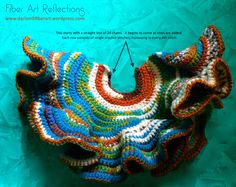 I enjoy experimenting with freeform and hyperbolic crochet techniques. For more information on crocheting models of hyperbolic geometry check out this link: Math & Fiber. Knit Art, Crochet Art, Irish Crochet, Crochet Motif, Crochet Shawl, Crochet Crafts, Crochet Stitches, Crochet Projects, Free Crochet