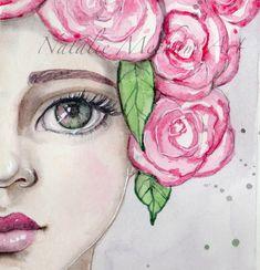 Рисуем лица, портрет девушки, вдохновение, 56 отметок «Нравится», 2 комментариев — Natalie Mecham (@nataliemechamart) в Instagram: «Flowers in her hair. #nataliemechamart #springrenewal #flowers #spring #portrait #pink #roses…»