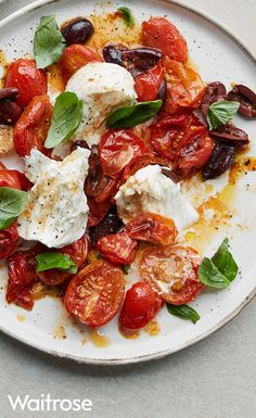 Light, fresh and ready only in 30 minutes, our Buffalo mozzarella with roasted tomatoes and olives makes for a delicious lunch. Top with basil and serve with warmed ciabatta. See the full recipe on the Waitrose website.