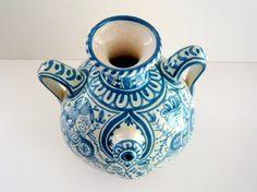 Antique Blue and White Italian Pottery Urn Vase