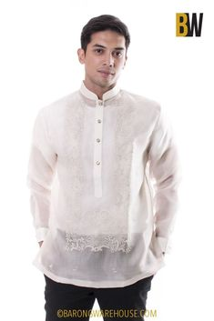 This design has a beautiful luster and would look great for any event. Pair this with the barong undershirt: Camisa de Chino (Short-Sleeve or Long-Sleeve ). Fabric: Cocoon silk (shell) and Organza (lining). Male Wedding Guest Outfit, Casual Wedding, Wedding Men, Wedding Suits, Wedding Attire, Wedding Dreams, Wedding Things, Barong Tagalog Wedding, Barong Wedding
