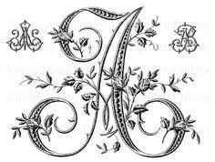 Antique FRANCÉS FLORAL ALFABETO letra grande - A - Monograma inicial Plus Bono de Imagen Transparente diseño de bordado de costura de la plantilla