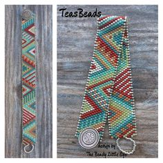 """This handcrafted bracelet is made with Delica beads in six gorgeous colors, seed beads and a button for secure closure. This skinny bracelet measures 3/4"""" in width and will fit wrist sizes up to 6.75""""**. **Measure your wrist in inches by wrapping a flexible ruler or tape measure around it. Do not pull the ruler too tightly."""