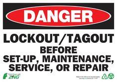 Sign, Danger LockOut-Tagout, 7x10, Self-Adhesive