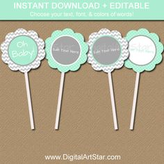 Printable Mint Green & Grey Baby Shower Cupcake Toppers