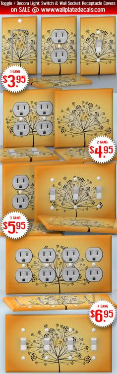 DIY Do It Yourself Home Decor - Easy to apply wall plate wraps | Berry Tree Tree silhouette on yellow background wallplate skin stickers for single, double, triple and quadruple Toggle and Decora Light Switches, Wall Socket Duplex Receptacles, and blank decals without inside cuts for special outlets | On SALE now only $3.95 - $6.95